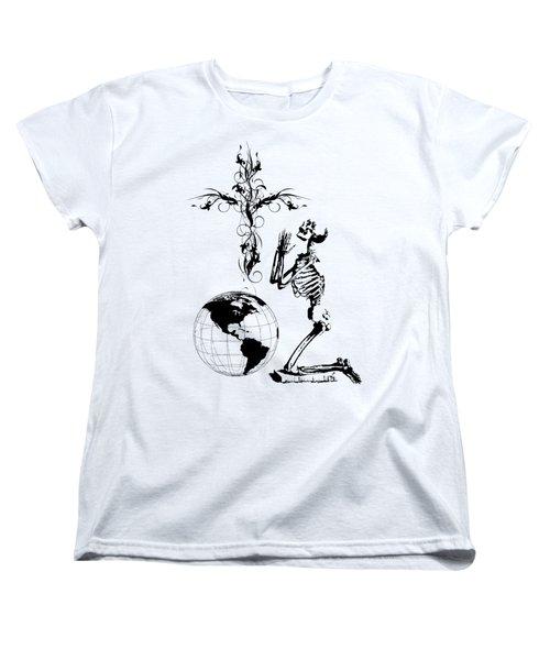 Skeleton Pryaing Cross Globe Women's T-Shirt (Standard Cut)