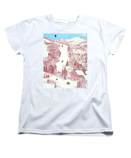 Skiing Deer Valley Utah Women's T-Shirt (Standard Cut) by Richard W Linford