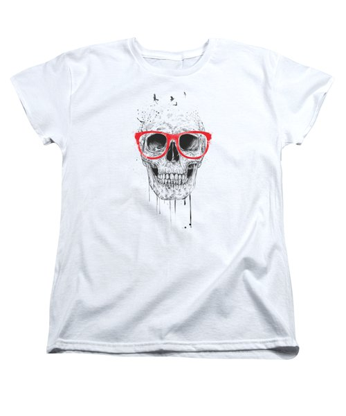 Skull With Red Glasses Women's T-Shirt (Standard Cut) by Balazs Solti