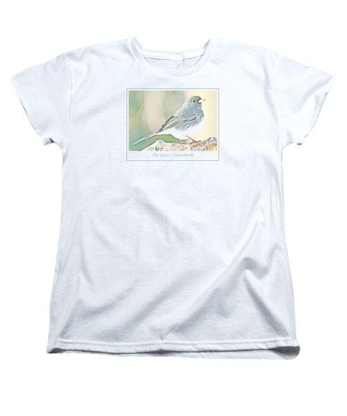 Women's T-Shirt (Standard Cut) featuring the photograph Slate-colored Junco Snowbird Female by A Gurmankin