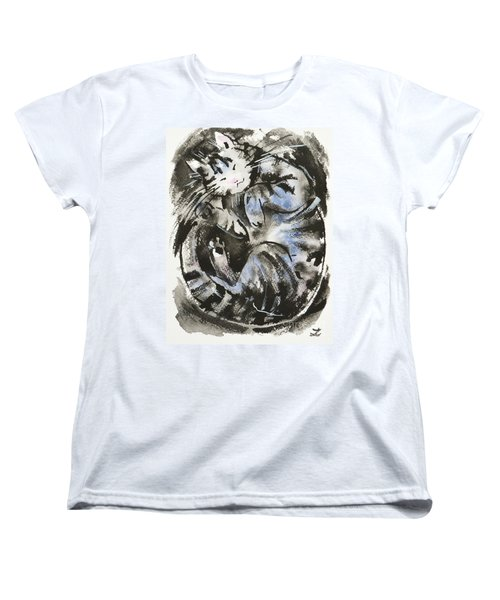 Women's T-Shirt (Standard Cut) featuring the painting Sleeping Tabby Cat by Zaira Dzhaubaeva