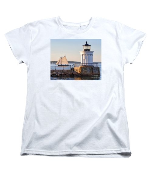 Women's T-Shirt (Standard Cut) featuring the photograph Sloop And Lighthouse, South Portland, Maine  -56170 by John Bald