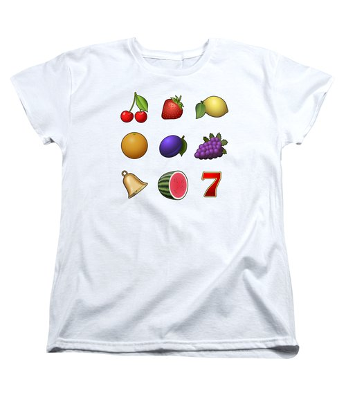 Slot Machine Fruit Symbols Women's T-Shirt (Standard Cut) by Miroslav Nemecek