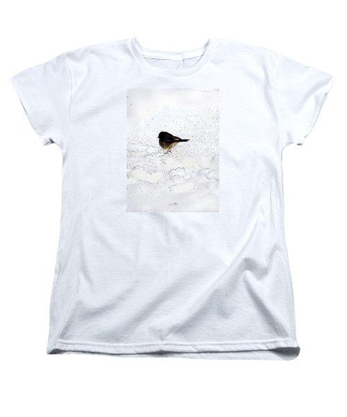 Small Bird On Snow Women's T-Shirt (Standard Cut) by Craig Walters