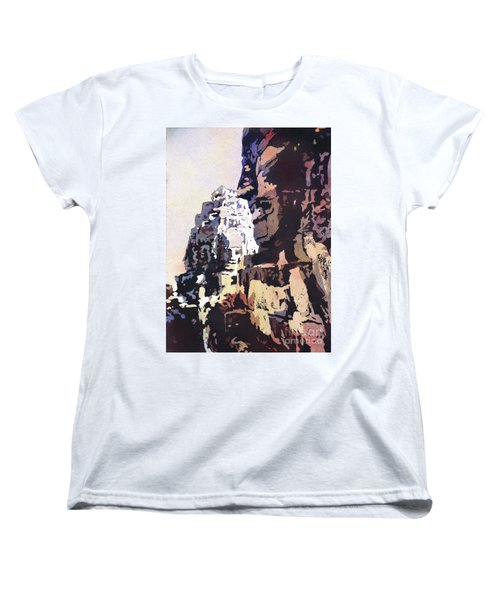 Women's T-Shirt (Standard Cut) featuring the painting Smiling Faces- Bayon Temple, Cambodia by Ryan Fox