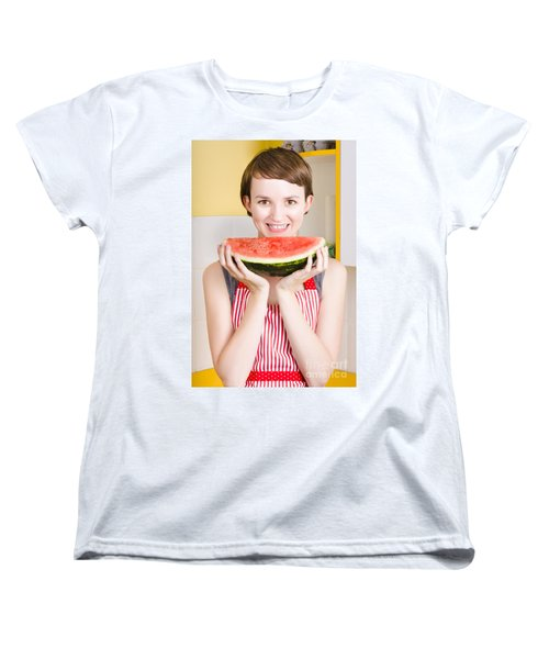 Smiling Young Woman Eating Fresh Fruit Watermelon Women's T-Shirt (Standard Cut) by Jorgo Photography - Wall Art Gallery