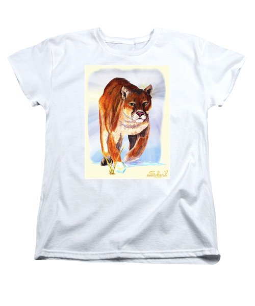 Snow Cougar Women's T-Shirt (Standard Cut) by Sherril Porter