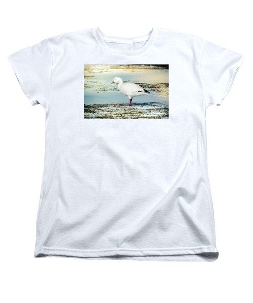 Women's T-Shirt (Standard Cut) featuring the photograph Snow Goose - Frozen Field by Robert Frederick