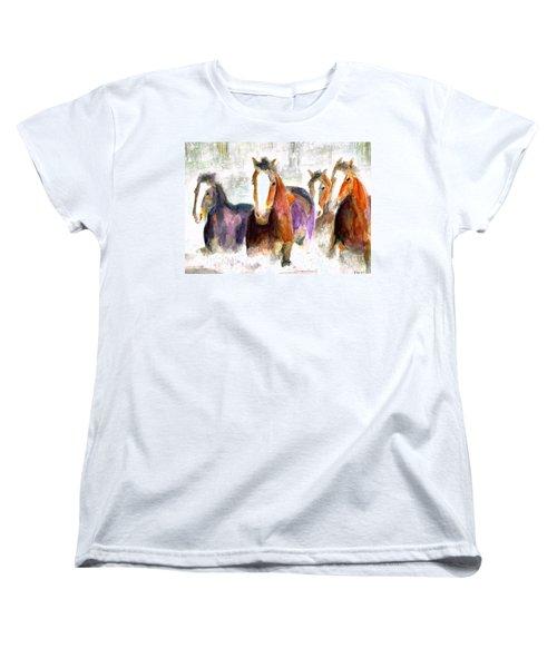 Snow Horses Women's T-Shirt (Standard Cut) by Frances Marino
