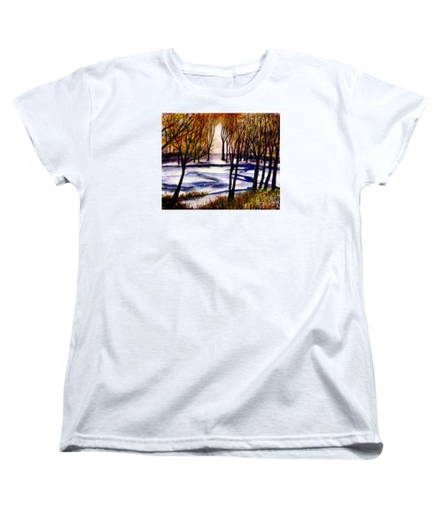 Snow On Lower Pasture Tonight Women's T-Shirt (Standard Cut) by Randy Sprout