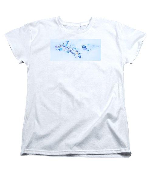 Snow Pebbles Abstract Women's T-Shirt (Standard Cut) by Theresa Tahara