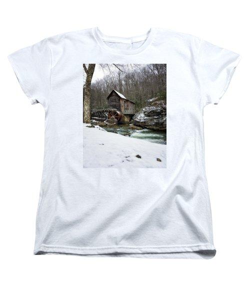 Snowing At Glade Creek Mill Women's T-Shirt (Standard Cut) by Steve Hurt