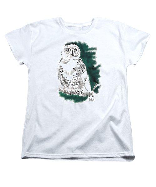 Women's T-Shirt (Standard Cut) featuring the drawing Snowy Owl II by Seth Weaver