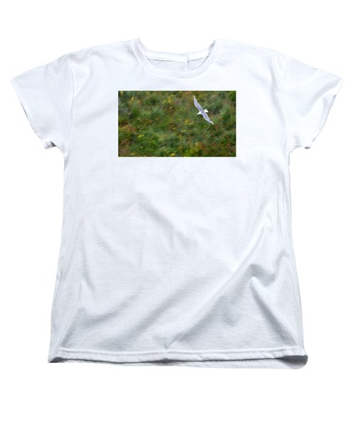 Women's T-Shirt (Standard Cut) featuring the photograph Soaring Seagull by Joe Bonita