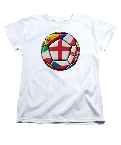Soccer Ball With Flag Of England In The Center Women's T-Shirt (Standard Cut) by Michal Boubin