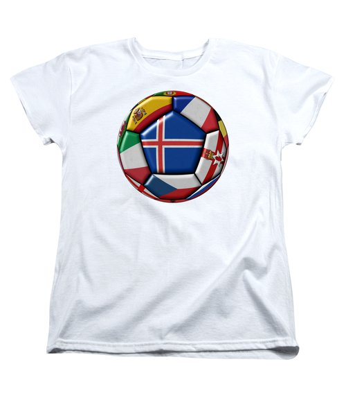 Soccer Ball With Flag Of Iceland In The Center Women's T-Shirt (Standard Cut) by Michal Boubin