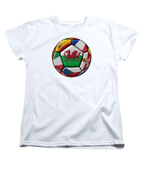 Soccer Ball With Flag Of Wales In The Center Women's T-Shirt (Standard Cut) by Michal Boubin