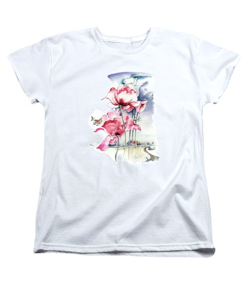 Women's T-Shirt (Standard Cut) featuring the painting Song About The Earth by Anna Ewa Miarczynska