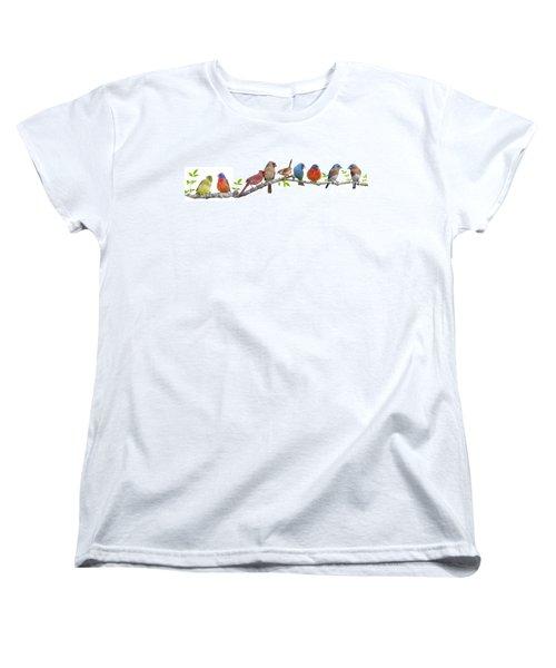 Songbirds On A Leafy Branch Women's T-Shirt (Standard Cut) by Bonnie Barry