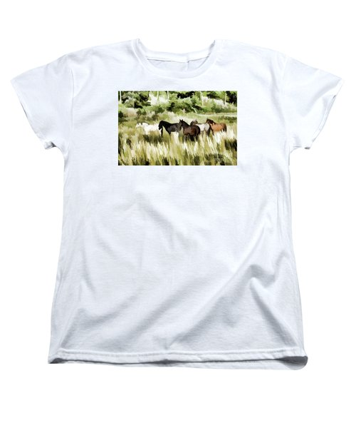 Women's T-Shirt (Standard Cut) featuring the mixed media South Dakota Herd Of Horses by Wilma Birdwell