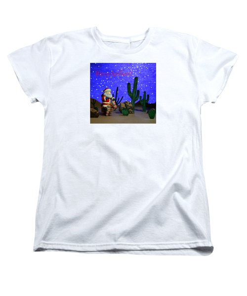 Women's T-Shirt (Standard Cut) featuring the painting Southwest Santa  by Marna Edwards Flavell
