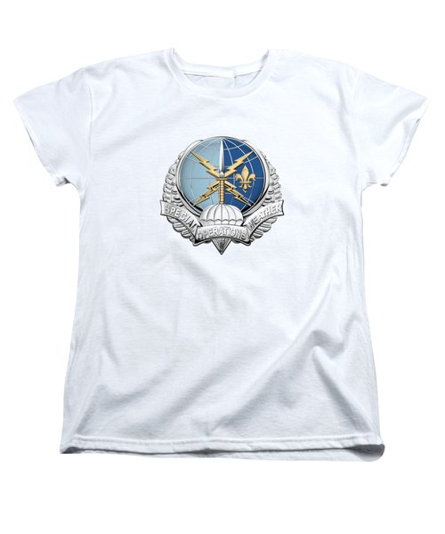 Special Operations Weather Team -  S O W T  Badge Over White Leather Women's T-Shirt (Standard Cut) by Serge Averbukh