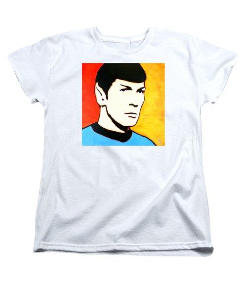 Women's T-Shirt (Standard Cut) featuring the painting Spock Vulcan Star Trek Pop Art by Bob Baker