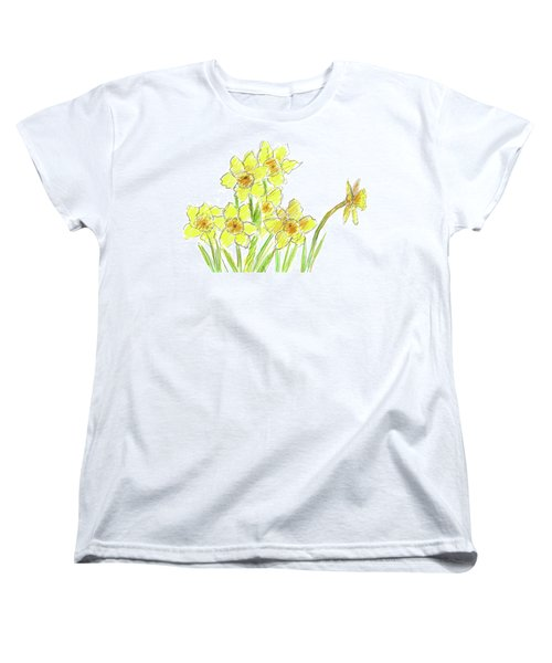 Women's T-Shirt (Standard Cut) featuring the painting Spring Daffodils by Cathie Richardson