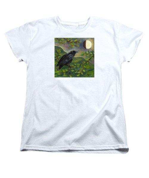 Spring Moon Raven Women's T-Shirt (Standard Cut) by FT McKinstry