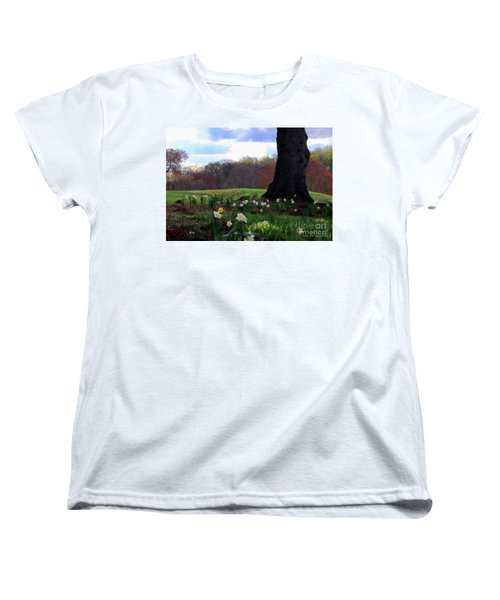 Women's T-Shirt (Standard Cut) featuring the photograph Springing Forward At Edgemont Golf Course by Polly Peacock