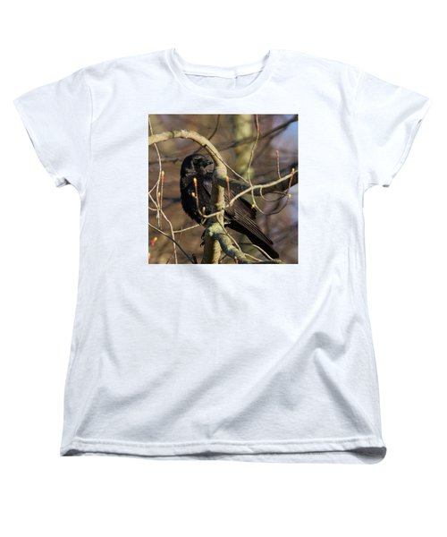 Women's T-Shirt (Standard Cut) featuring the photograph Springtime Crow Square by Bill Wakeley