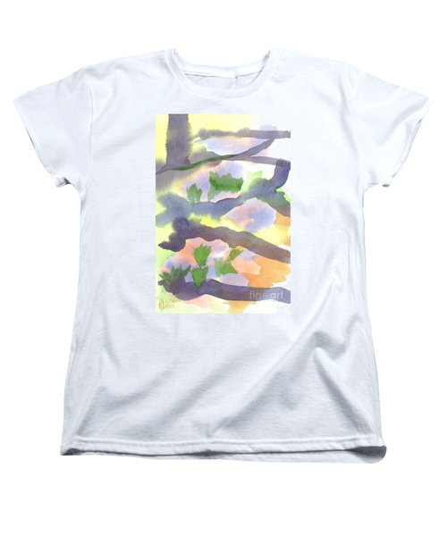 Women's T-Shirt (Standard Cut) featuring the painting Springtime Wildflower Camouflage  by Kip DeVore