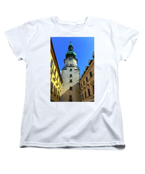 St Michael's Tower In The Old City, Bratislava, Slovakia, Europe Women's T-Shirt (Standard Cut) by Elenarts - Elena Duvernay photo