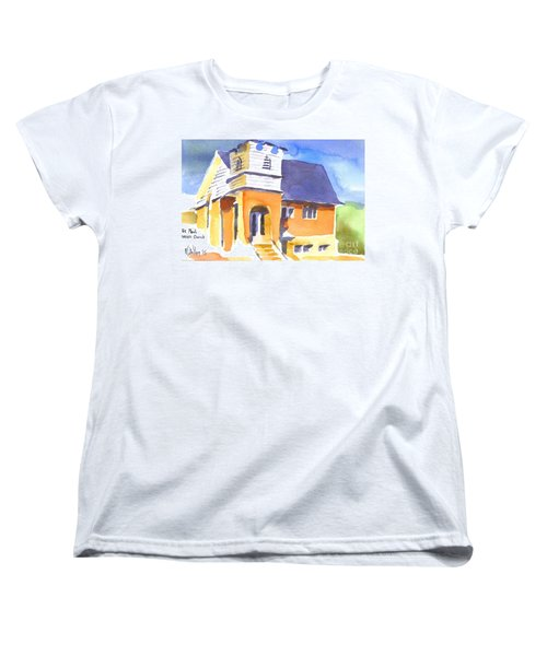 Women's T-Shirt (Standard Cut) featuring the painting St Paul Lutheran 3 by Kip DeVore