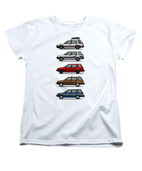 Stack Of Toyota Tercel Sr5 4wd Al25 Wagons Women's T-Shirt (Standard Cut) by Monkey Crisis On Mars