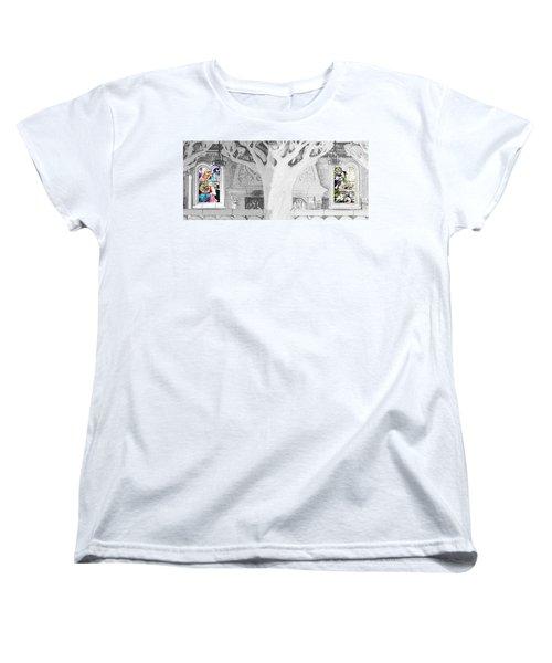 Stained Glass Windows Disney Women's T-Shirt (Standard Cut) by Roger Lighterness