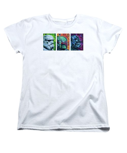 Women's T-Shirt (Standard Cut) featuring the painting Star Wars Helmet Series - Triptych by Aaron Spong