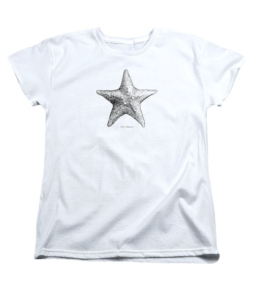 Women's T-Shirt (Standard Cut) featuring the drawing Starfish Drawing Black And White Sea Star by Karen Whitworth