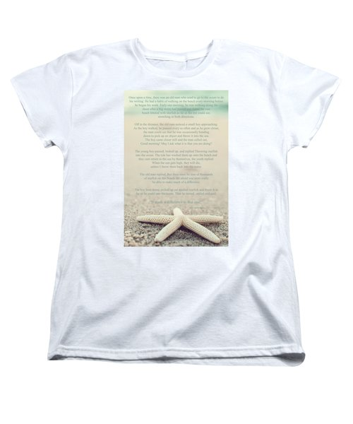 Starfish Make A Difference Vintage Set 1 Women's T-Shirt (Standard Cut) by Terry DeLuco