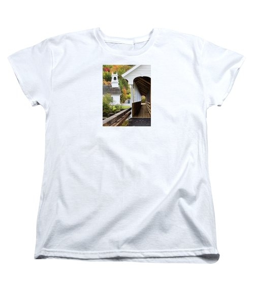 Women's T-Shirt (Standard Cut) featuring the photograph Stark, Nh Union Church And Covered Bridge by Betty Denise