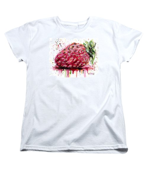 Stawberry 1 Women's T-Shirt (Standard Cut) by Arleana Holtzmann