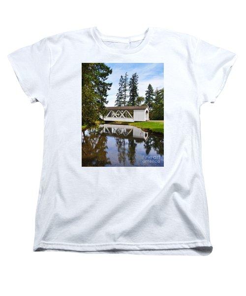 Stayton-jordon Covered Bridge Women's T-Shirt (Standard Cut) by Ansel Price