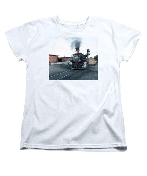 Steam Locomotive In The Train Yard Of The Durango And Silverton Narrow Gauge Railroad In Durango Women's T-Shirt (Standard Cut) by Carol M Highsmith