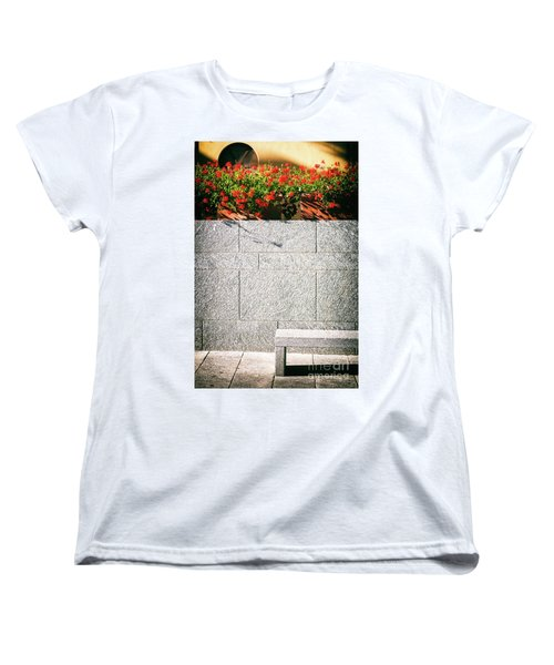 Women's T-Shirt (Standard Cut) featuring the photograph Stone Bench With Flowers by Silvia Ganora