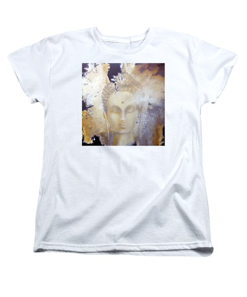 Women's T-Shirt (Standard Cut) featuring the painting Stone Buddha by Dina Dargo