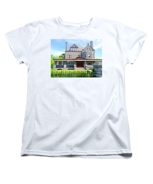 Women's T-Shirt (Standard Cut) featuring the photograph Stone Mansion Red Doors by Becky Lupe