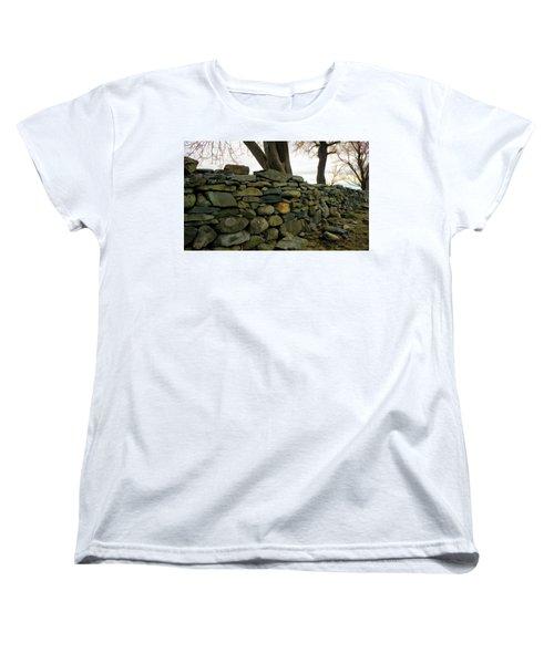 Stone Wall, Colt State Park Women's T-Shirt (Standard Cut) by Nancy De Flon