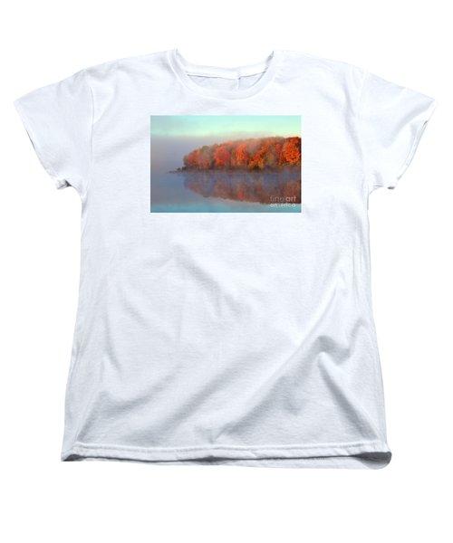 Stoneledge Lake Pristine Beauty In The Fog Women's T-Shirt (Standard Cut) by Terri Gostola