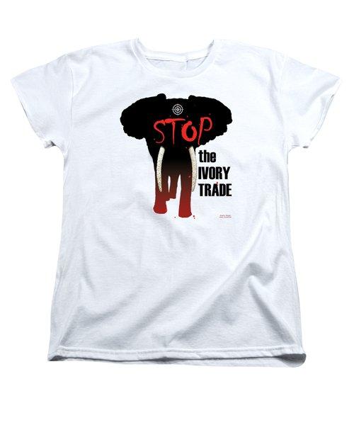 Stop The Ivory Trade Women's T-Shirt (Standard Cut) by Galen Hazelhofer