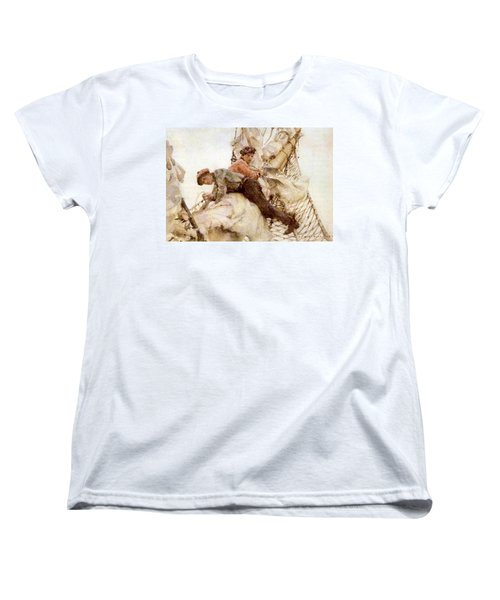 Women's T-Shirt (Standard Cut) featuring the painting Stowing The Headsails  by Henry Scott Tuke